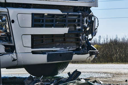 car accident on a road, truck after a collision with a van, transportation background Stock Photo