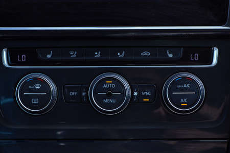 Car ventilation control system panel, automotive background Stock Photo