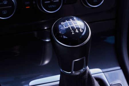 car manual gearbox black handle. Automotive background
