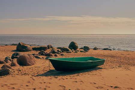 Boat at Baltic sea shore in Tuja, Vidzeme, Latvia, landscape