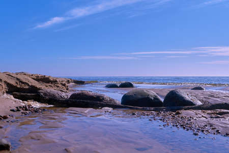 Stones at Baltic sea rocky shore near Tuja, Veczemju klintis, Vidzeme, Latvia, landscape