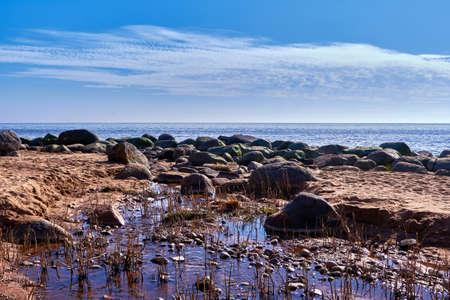 big stones at Baltic sea rocky shore near Tuja, Veczemju klintis, Vidzeme, Latvia, landscape