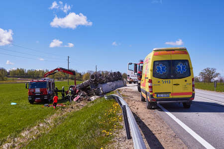 May 15, 2020, Inciems, Latvia: car accident because damaged tire, truck got off the road and rolled over onto the roof, as result truck driver died on a accident place