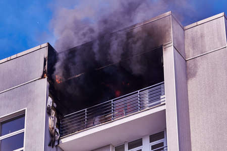 April 21, 2020, Riga Latvia: fire in a multitorey residential building on the top floor