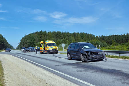 June 15,2020, Ogre, Latvia: car after accident on a road because of frontal collision, transportation background