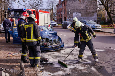 November 9, 2020, Riga, Latvia: car after accident on a road because of collision with a truck, transportation background Editorial