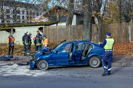 August 18, 2020, Riga, Latvia: car after accident on a road because of frontal collision, transportation background