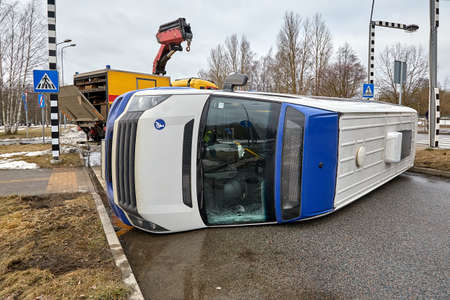 February 26, 2021, Riga, Latvia, damaged cars on the city raod at the scene of an accident because of using mobile phone while driving