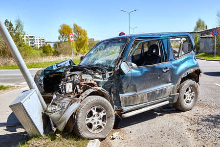 May 11, 2021, Riga, Latvia: car after accident on a road because of collision with a truck, transportation background