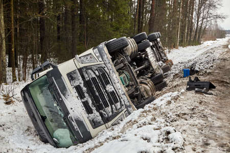 January 25, 2021, road A5, Latvia: Truck after car accident on the slippery road