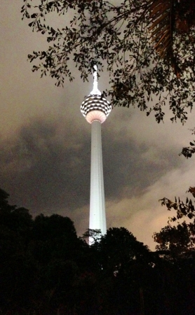 kl: KL Tower at night. All lighted up in splendour.  Stock Photo