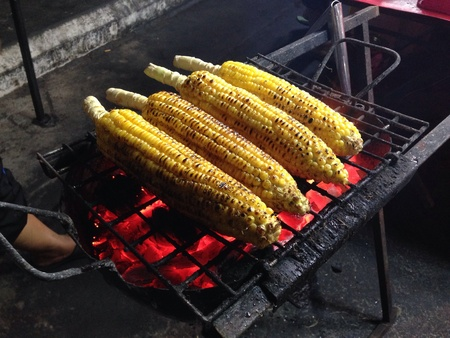 grill: Jagung bakar or BBQ corn is a favourite snack in many coastal towns of Malaysia.