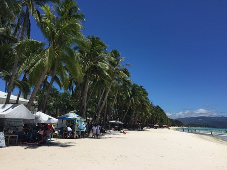 white sand: The scenic beauty of white sand beach in Boracay Stock Photo