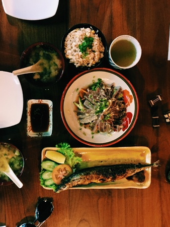 style: If you are bored of your usual lunch try the Japanese lunch. Its light and healthy. Make sure you ended the meal with a cup of cold or hot green cha. Stock Photo
