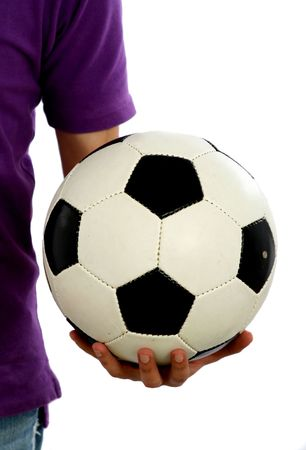 The person with a ball in a hand. photo