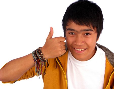 Boy happy smiley two-thumbs up ok sign. Stock Photo - 4261286