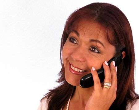 Smiling business woman talking by phone Stock Photo - 4265375