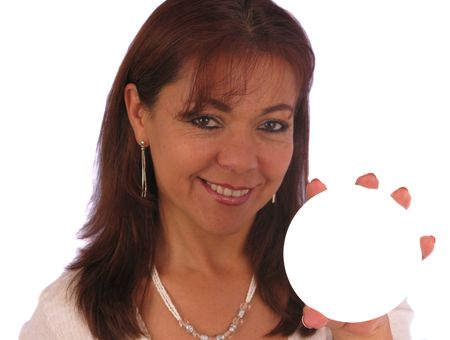 Attractive woman holding at an imaginary product Stock Photo - 4265376