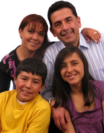 Happy latin american family over a white background  Stock Photo - 4305008