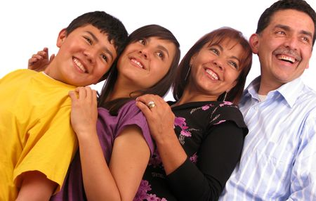 Latin american family over a white background Stock Photo - 4305007