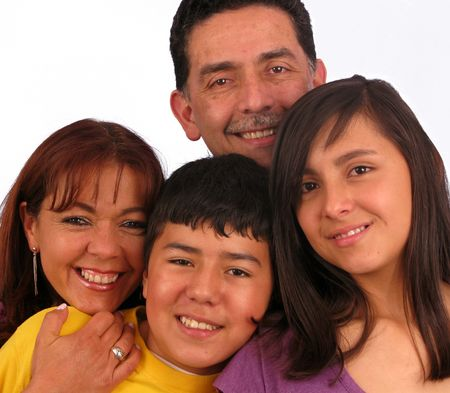 Happy Family over a white background Stock Photo