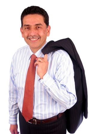 Business man portrait smiling with his jacket over his shoulder Stock Photo