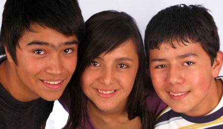 Children grouped together shoulder to shoulder, smiling. Stock Photo - 4348094