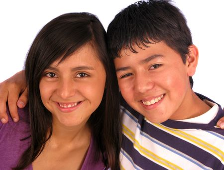 Two child. Kids are 14 and 15 years old.  Stock Photo