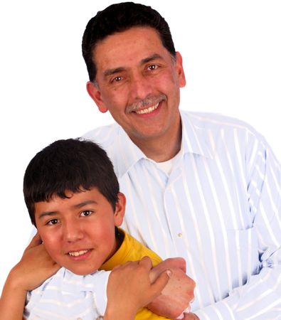 Father and son over white background  Stock Photo