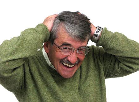 Business man senior happy over white background photo
