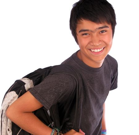 Young male student over a white background Stock Photo