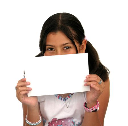 Children holding an empty sign over a white background Stock Photo