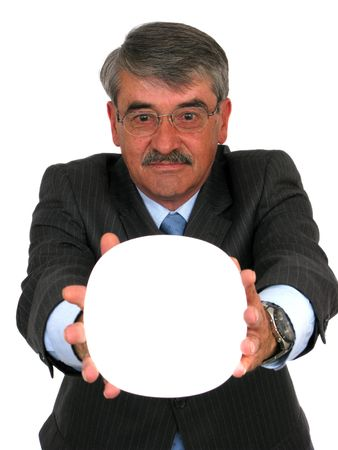 Business man holding a white banner over a white background photo