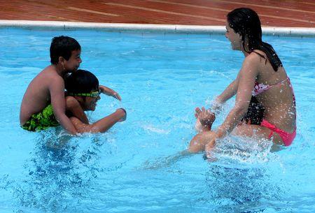 Group having fun at the swimming pool photo