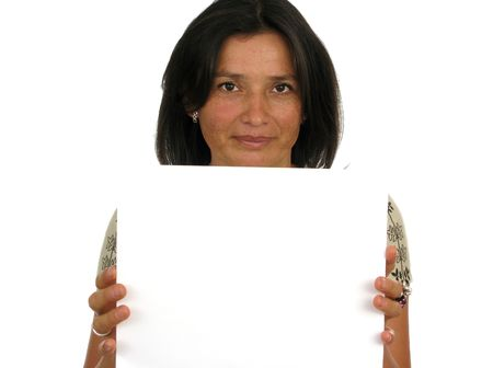 buisiness: Buisiness woman holding up a blank paper Stock Photo