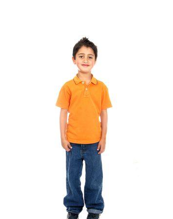 expression corporelle: Enfant souriant isol� sur un fond blanc