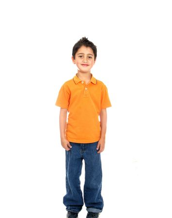 expresion corporal: Niño sonriente aislados sobre un fondo blanco Foto de archivo