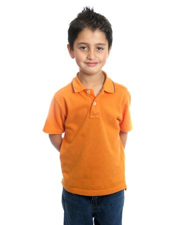 boy body: Child smiling and standing isolated over white background