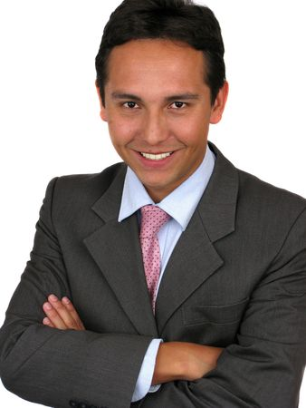 A friendly looking man in a suit with his arms crossed over white Stock Photo - 5695102