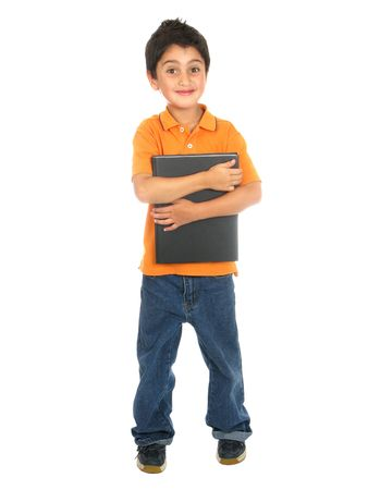 Little school boy holding a notebook  isolated over  white background photo