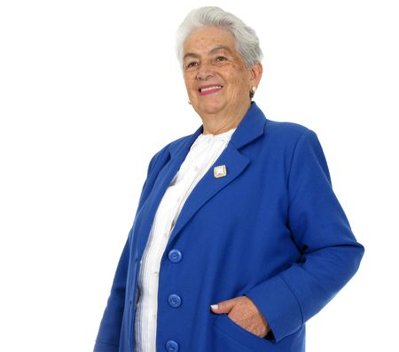 Happy grandmother isolated over white background