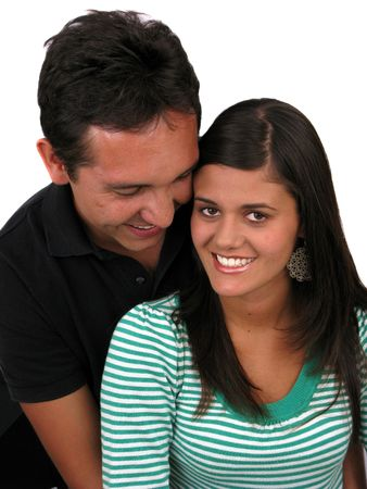 Happy young couple in love over white photo