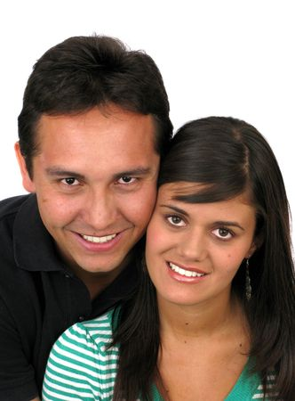 Young couple smiling over white background Stock Photo - 5886216