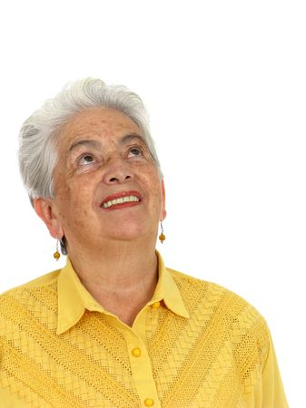 An older smiling woman thinking over white photo