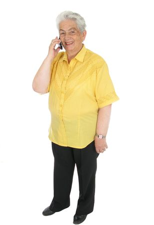 Smiling senior woman talking on cell phone