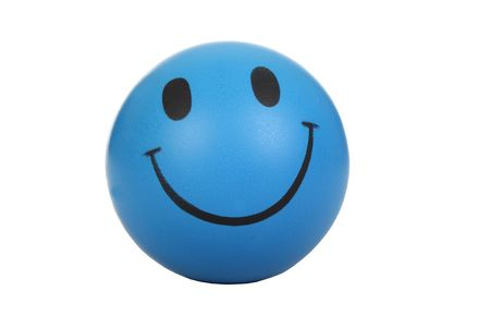 blue ball: Blue smiley face on white background. Stock Photo