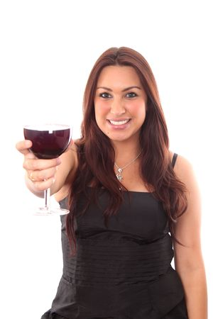 Beautiful young women with the glass of red wine on white photo