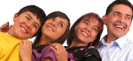 Latin american family over a white background photo