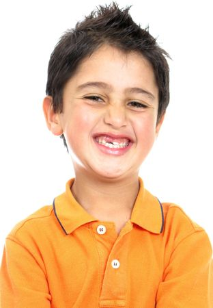 Funny child portrait -  boy smiling isolated over a white background