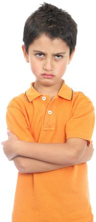 Very angry boy isolated over white photo